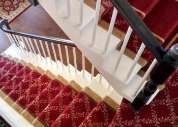 red carpet wooden double stair