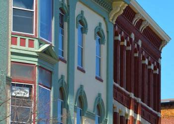 Front Street in charming Downtown Bath with interesting turn of the 20th century architecture.