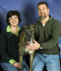 Your Innkeepers, Gwenda and Don Pryor, with their adopted greyhound.